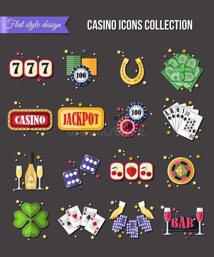 套五颜六色的现代赌博的象,赌博娱乐场 皇族释放例证