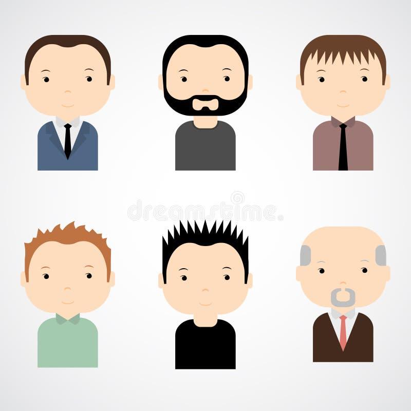 套五颜六色的男性面对象 时髦平的样式 滑稽的漫画人物 向量例证