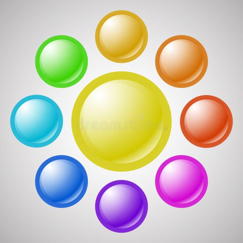 套五颜六色的空白的网按钮 向量例证