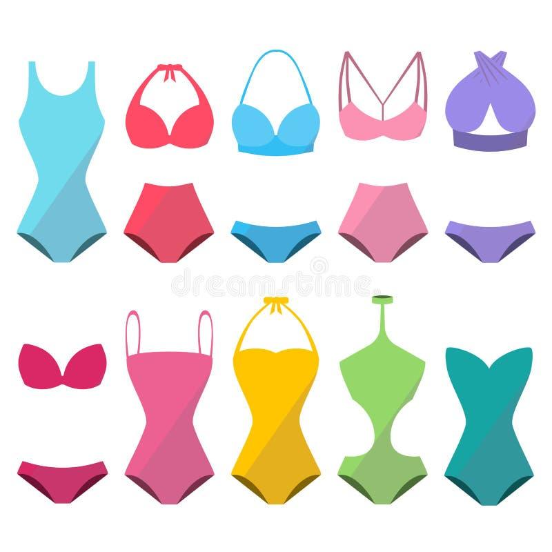 套五颜六色的美丽的时髦的游泳衣为夏天 皇族释放例证