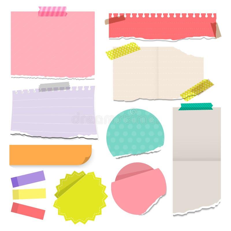 套五颜六色的被撕毁的便条纸黏着性与例证 库存照片