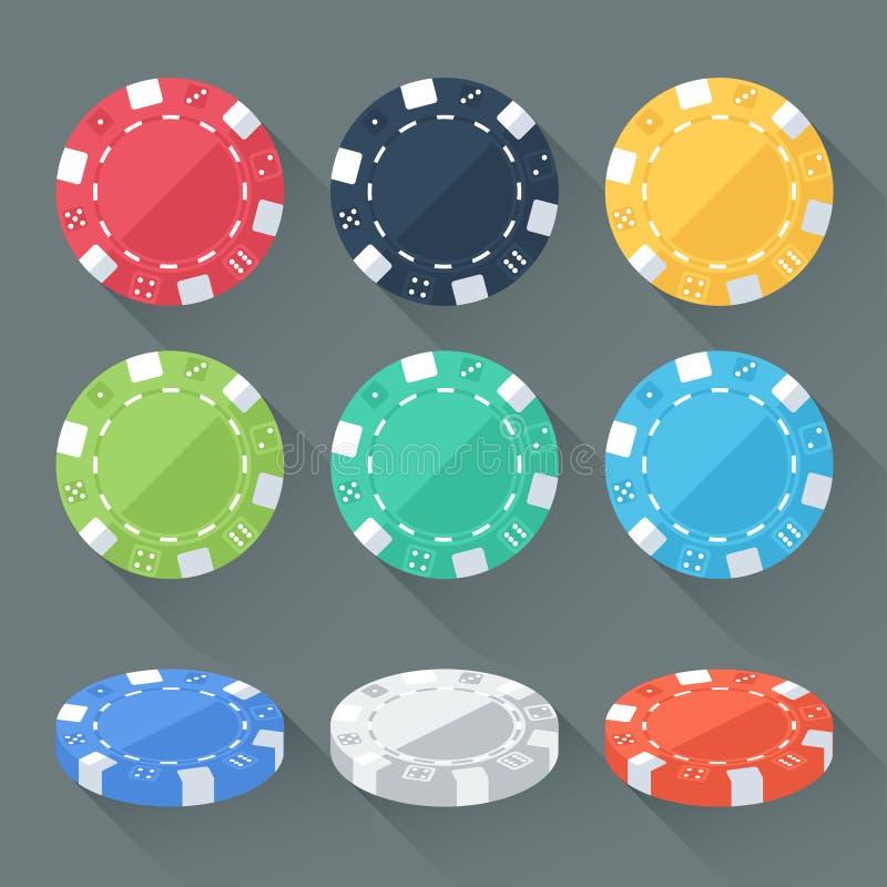套五颜六色的赌博的芯片,赌博娱乐场象征 与长的阴影的平的样式 现代时髦设计 皇族释放例证