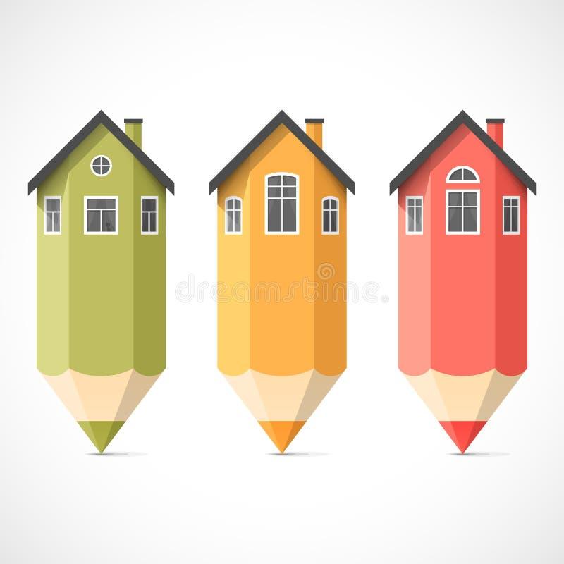套五颜六色的铅笔房子 向量例证