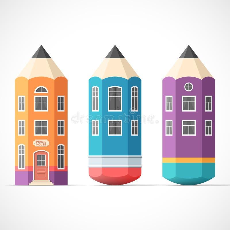 套五颜六色的铅笔房子 皇族释放例证