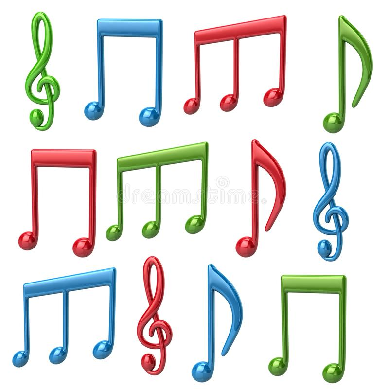 套五颜六色的音乐注意3d例证 库存例证