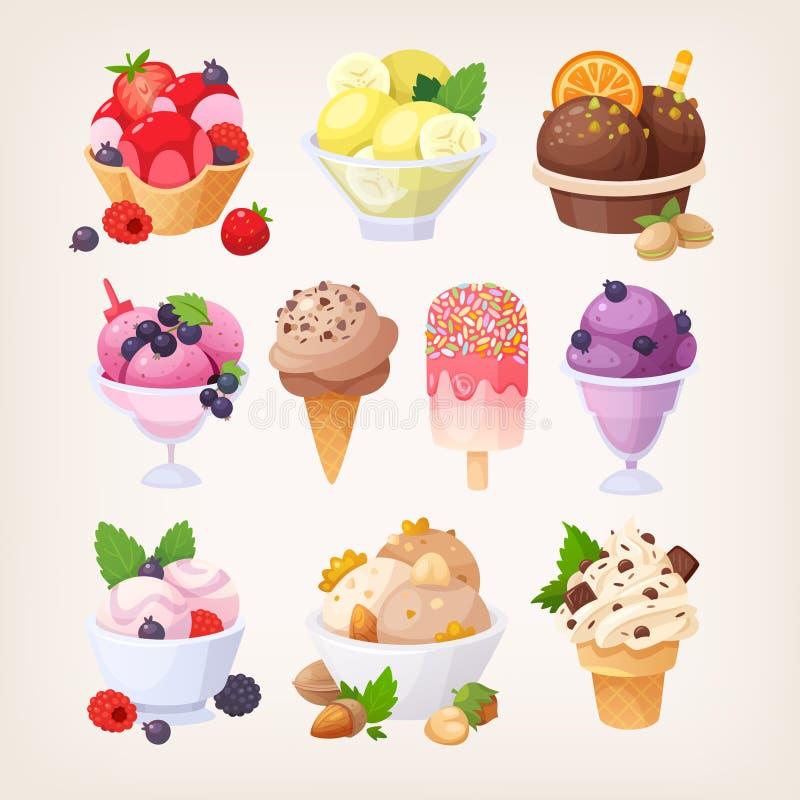 套五颜六色的鲜美冰淇凌 皇族释放例证