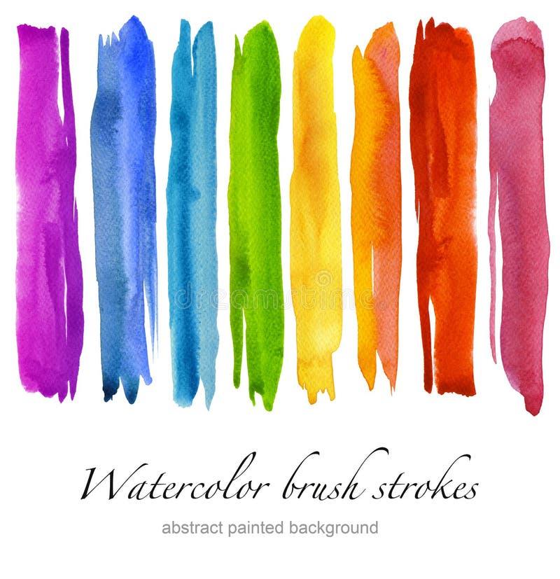 套五颜六色的水彩刷子冲程 查出 免版税库存照片