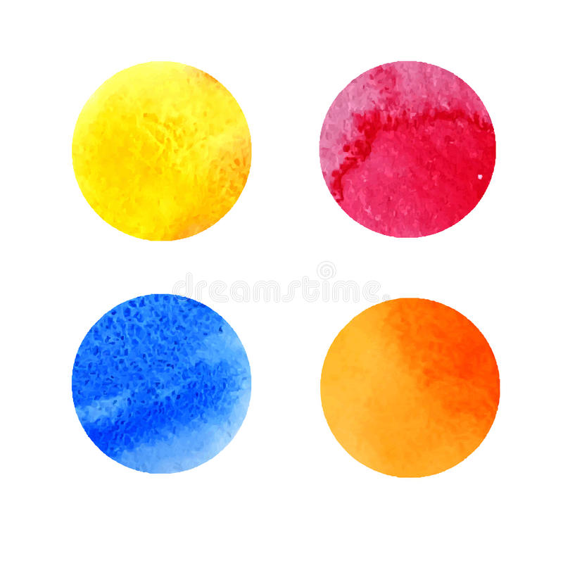 套五颜六色的水彩污点 向量例证