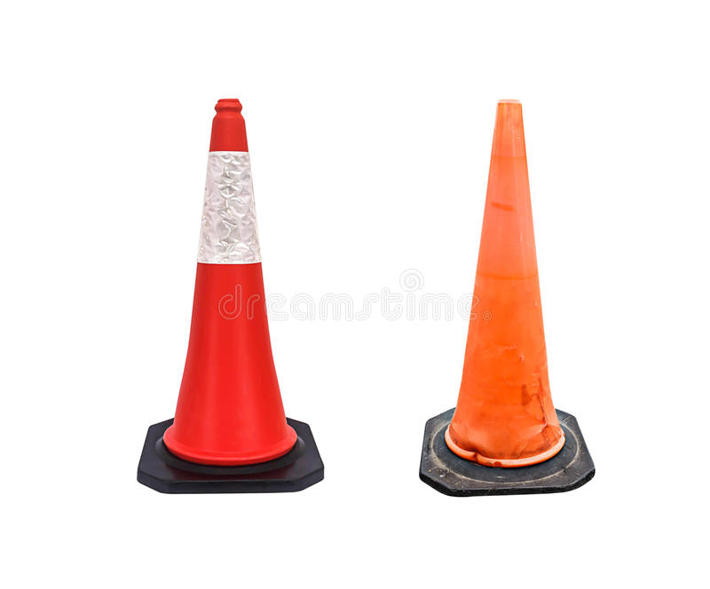 套交通锥体-设路障在白色backgroun的警告锥体 库存图片