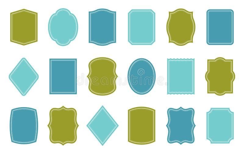 套产品标签模板 不同的形状 皇族释放例证