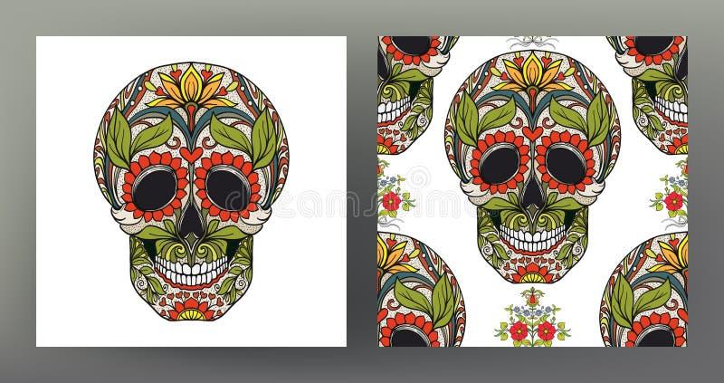 套人的头骨和无缝的样式,背景用糖 皇族释放例证