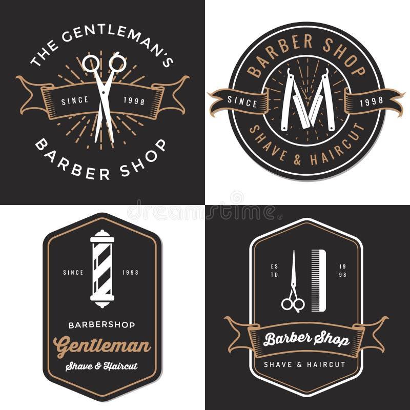 套人的理发店商标,徽章,标签,在葡萄酒样式的标记设计 刮脸和理发横幅 向量例证