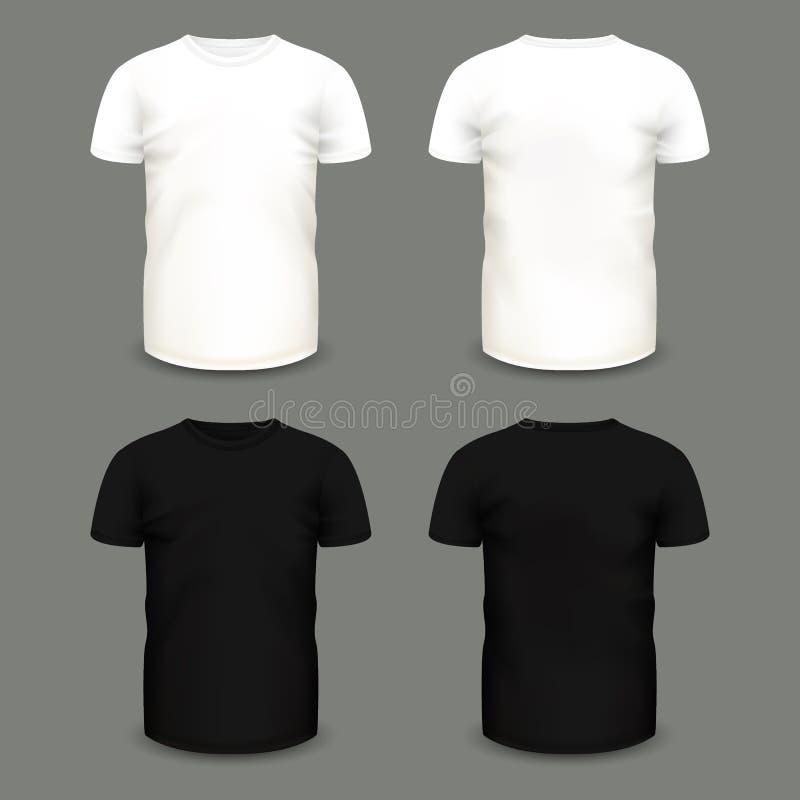 套人`在前面和后面看法的s白色和黑T恤杉 库存例证