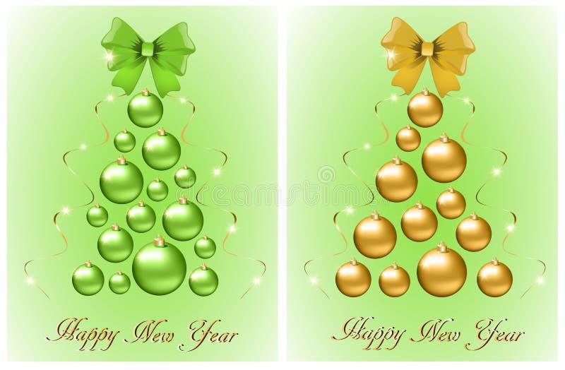 套从球和弓的抽象圣诞树 皇族释放例证