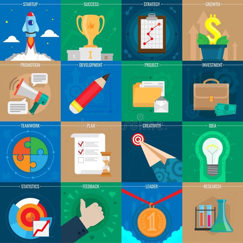 套企业传染媒介象 网络设计反对,事务、办公室和营销项目象 也corel凹道例证向量 库存例证