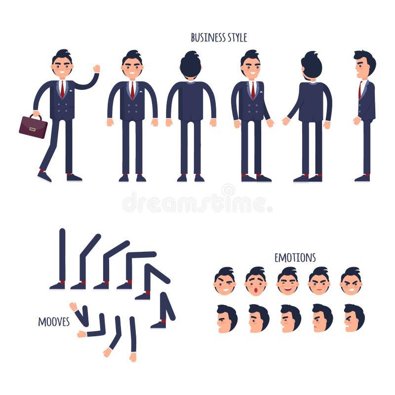 套企业样式,面孔情感,平展移动 皇族释放例证