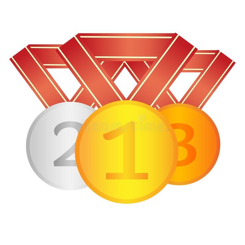 套优胜者奖牌 第一个第二个第三名奖 皇族释放例证