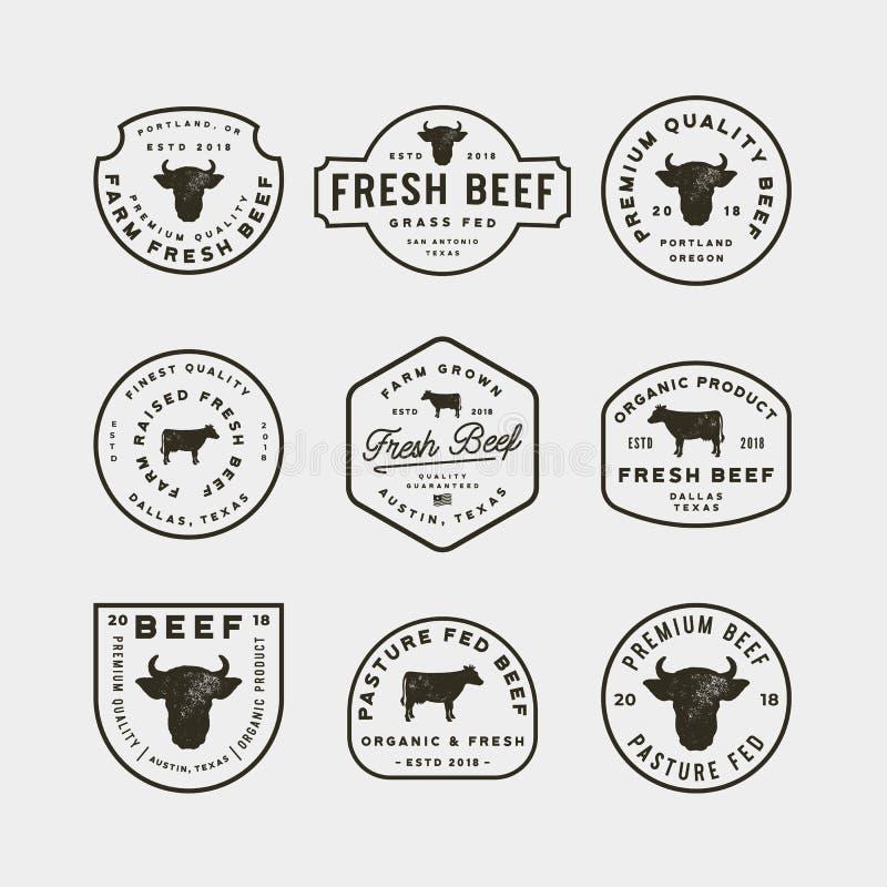 套优质新牛肉标签 也corel凹道例证向量 向量例证
