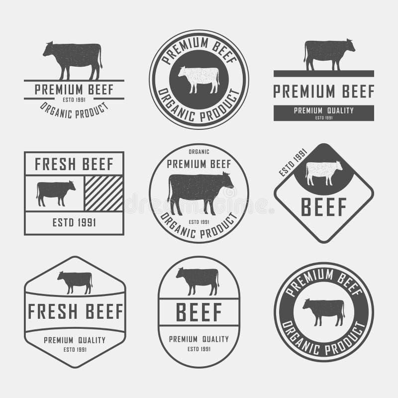 套优质牛肉标签、徽章和设计元素 也corel凹道例证向量 库存例证