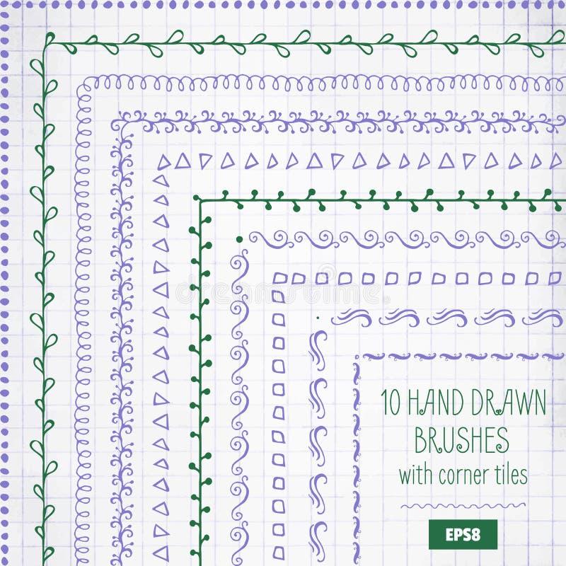 套传染媒介乱画装饰刷子 手拉的墨水框架或边界 库存例证