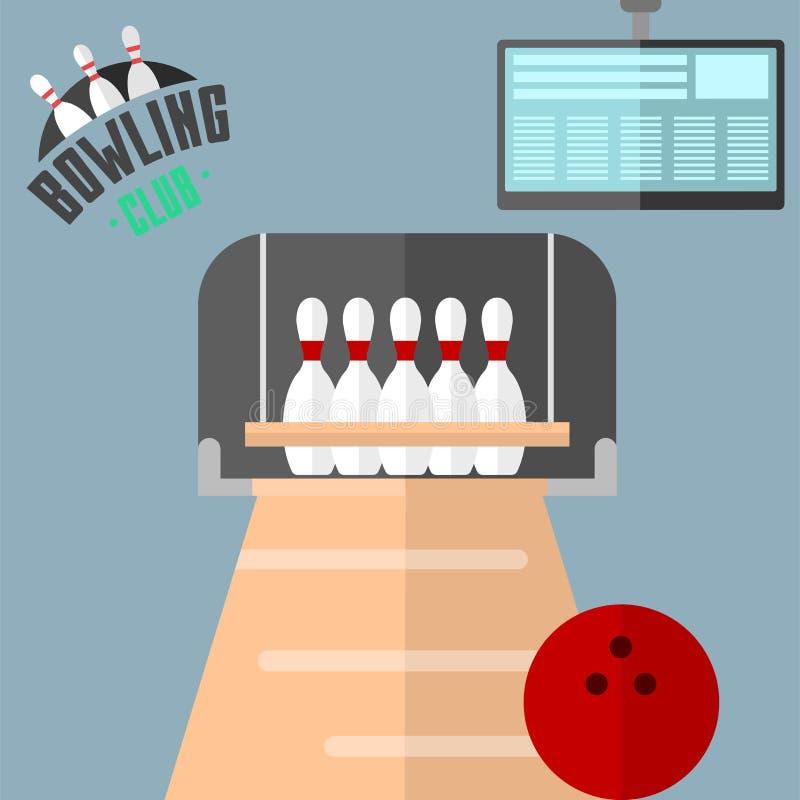 套传染媒介五颜六色的保龄球象炫耀罢工别针标志球九柱游戏用的小柱游戏设备例证 库存例证