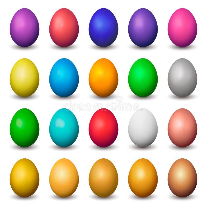 套传染媒介五颜六色的现实鸡蛋 查出 库存例证