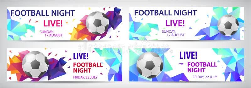 套传染媒介体育橄榄球横幅,活比赛 与橄榄球球和文本的雕琢平面的五颜六色的背景 皇族释放例证