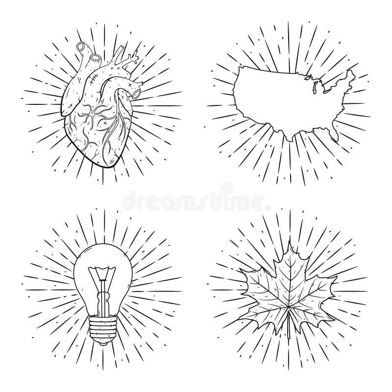 套传染媒介例证-心脏,美国映射,轻的blub和枫叶有分歧光芒的 使用为海报,横幅 向量例证