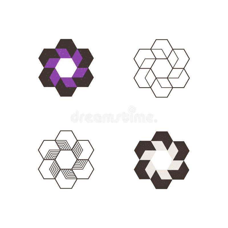 套传染媒介几何组合图案 烙记和商标设计的Minimasm 库存例证