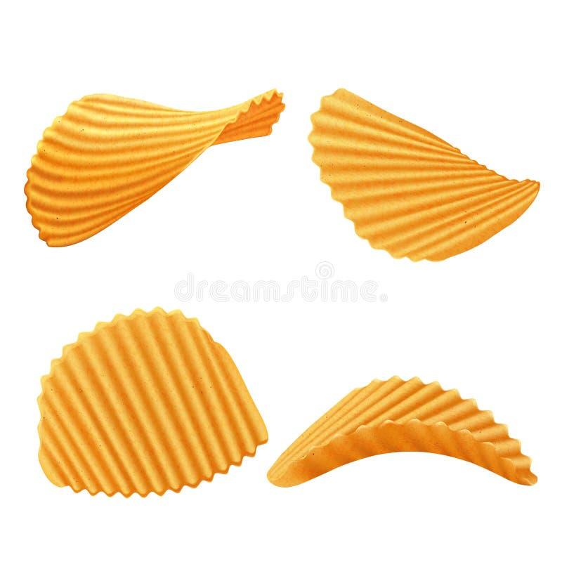 套传染媒介土豆起波纹的芯片 向量例证