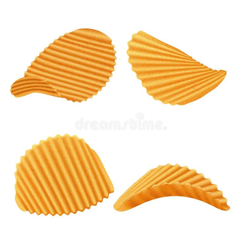 套传染媒介土豆起波纹的芯片 皇族释放例证