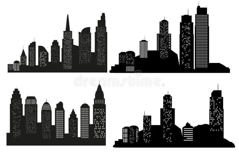 套传染媒介城市剪影有在白色背景 也corel凹道例证向量 皇族释放例证