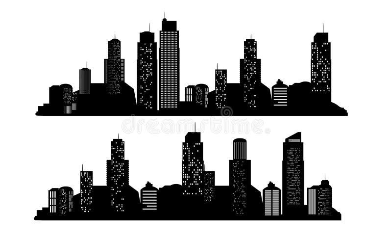 套传染媒介城市剪影有在白色背景 也corel凹道例证向量 库存例证
