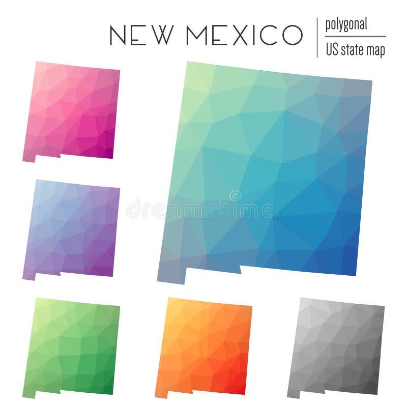 套传染媒介多角形新墨西哥地图 向量例证