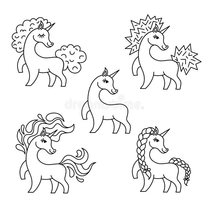 套传染媒介独角兽线剪影 印刷品的,横幅,海报激动人心的例证设计 皇族释放例证