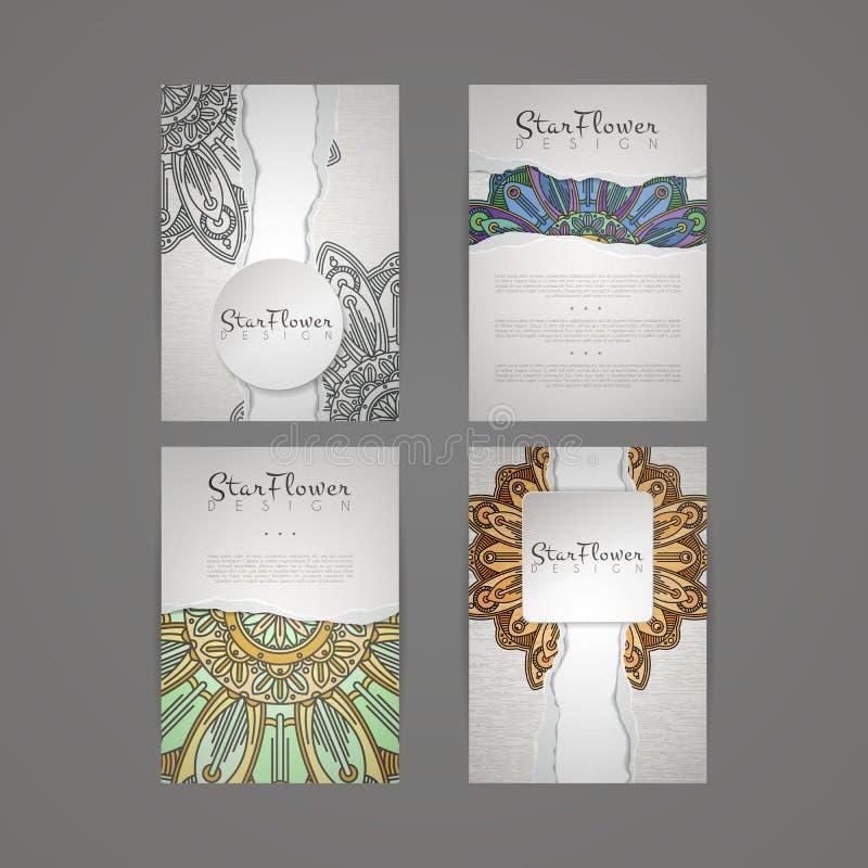 套传染媒介设计模板 与花卉圈子装饰品的名片 库存例证