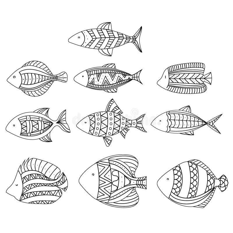 套传染媒介风格化鱼 水族馆鱼的汇集 线性艺术 儿童例证 向量例证
