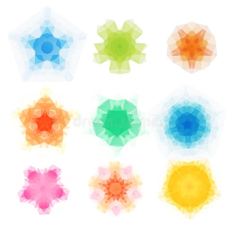 套传染媒介三角圆的样式 万花筒花坛场 现代设计模板,传染媒介例证马赛克 向量例证