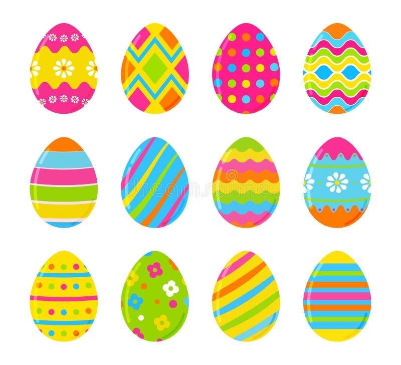 套传染媒介五颜六色的复活节彩蛋 复活节设计的装饰 背景查出的白色 向量例证