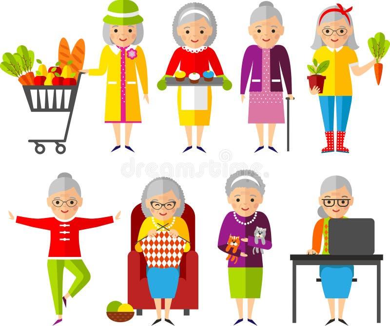 套传染媒介例证每小组老妇人用不同的情况