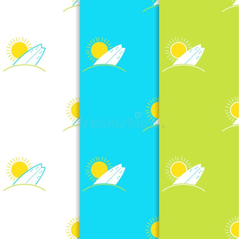 套传染媒介冲浪板和在现代平的设计的太阳无缝的样式 晴朗的冲浪和海滩背景 皇族释放例证