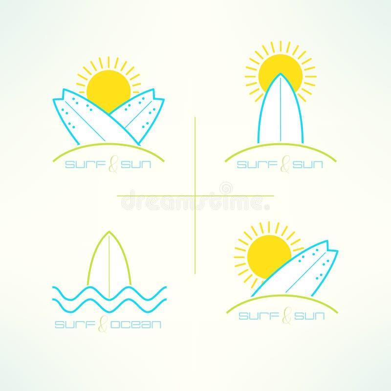套传染媒介冲浪的公司在现代干净和明亮的设计标记商标被做 Surfboarding T恤杉印刷品 海浪 向量例证