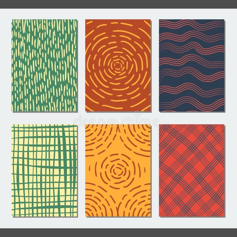 套传染媒介创造性的卡片,在五颜六色的背景的手图画 皇族释放例证