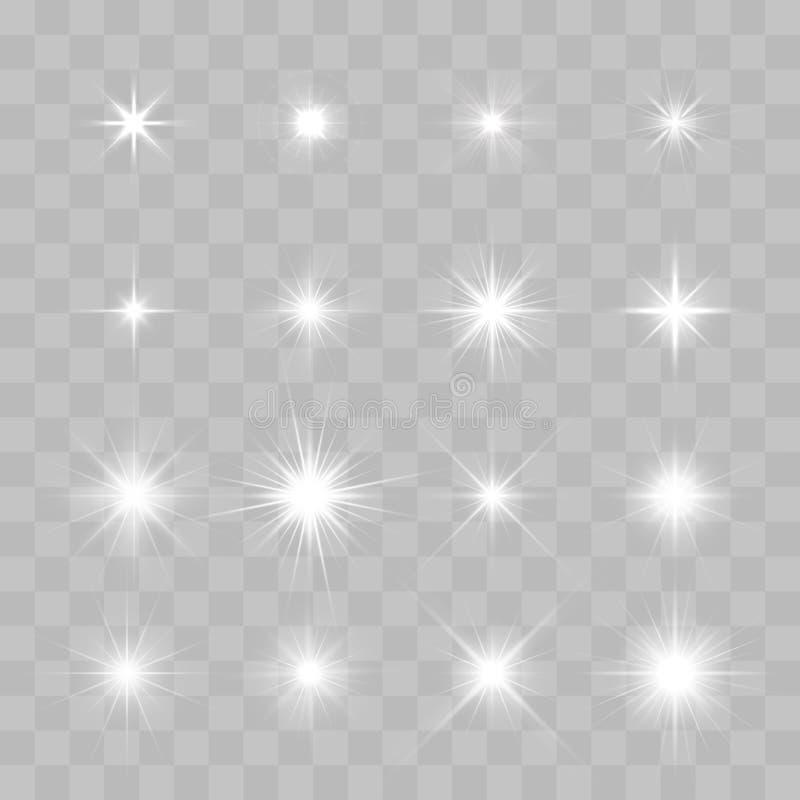 套传染媒介发光的闪耀的星 皇族释放例证