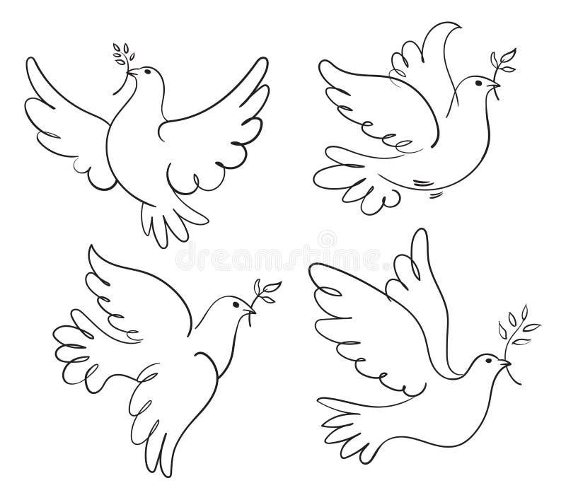 套传染媒介和平标志鸠  库存例证