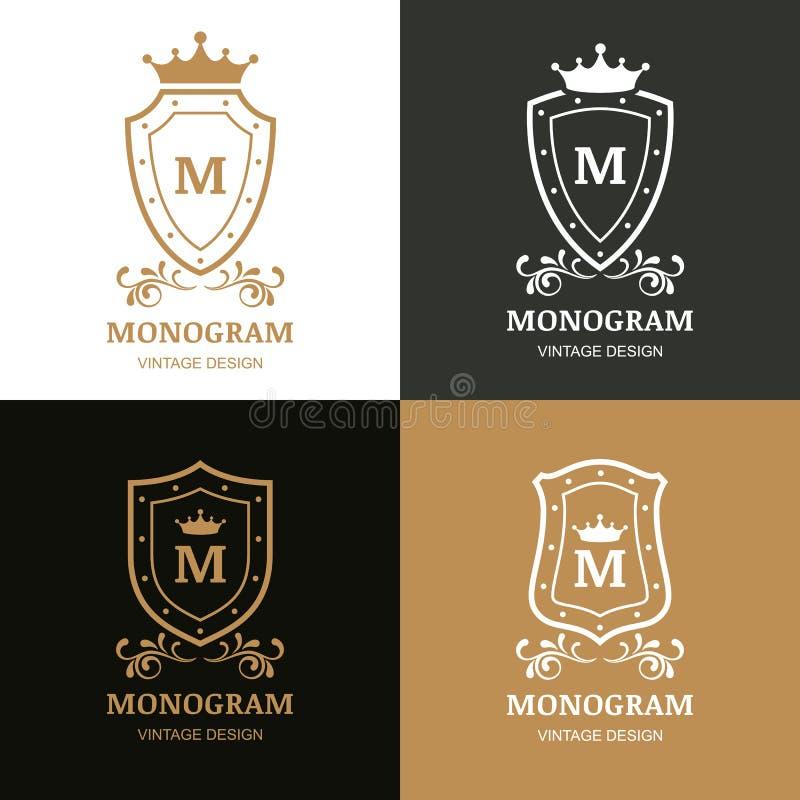 套传染媒介商标设计 冠、盾和华丽的标志 向量例证