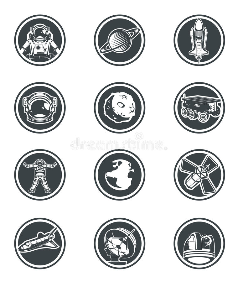套传染媒介圆的徽章空间 库存例证