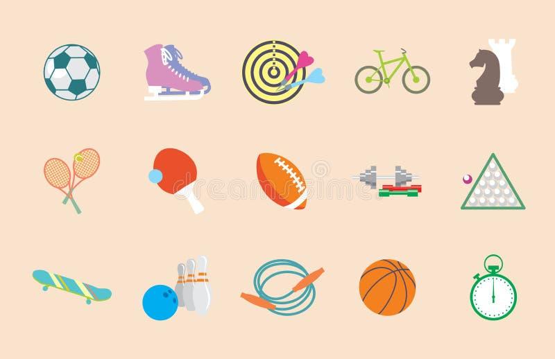 套传染媒介在平的设计的体育象 向量例证
