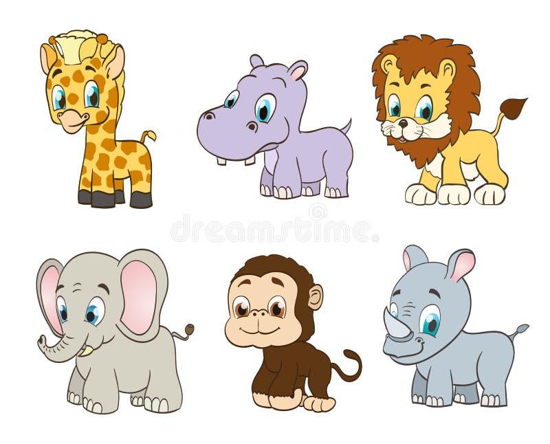 套传染媒介密林动画片动物 库存例证