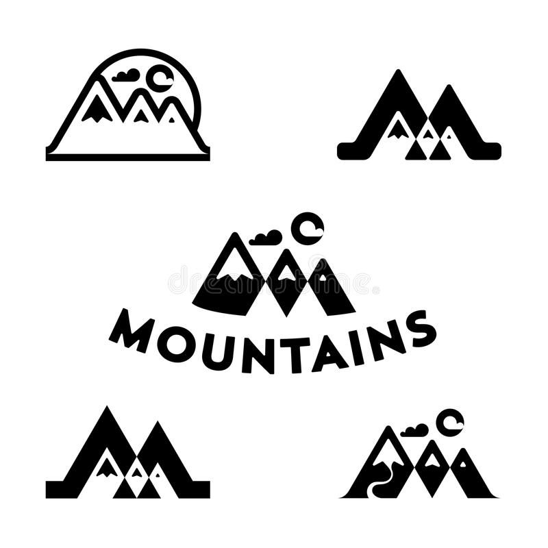套传染媒介山和室外冒险商标 旅游业,远足的和野营的商标集合 山和旅行象为 库存例证